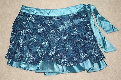 NEW $44.50 Girls Donna Karan DKNY Boho Mod Blue Layered Skort Mini Skirt sz 14
