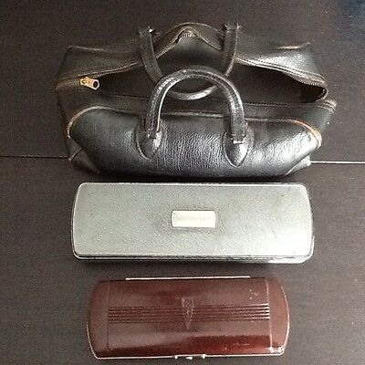 Vintage Black Leather Doctors Bag / Carry on Travel Bag With Contents