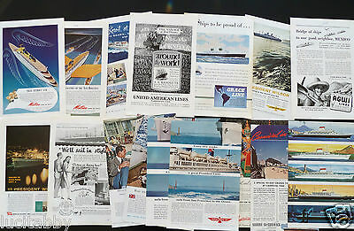 Cruise Line Vintage Ads 24 Lot 1925 1940-50s French,Cuba Mail,Grace,Matson,Delta