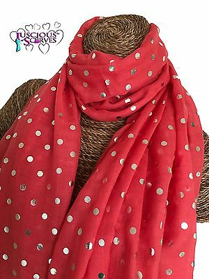 5e6d4fdf9 Salmon Scarf With Silver Foil Glitter Dots Spots Ladies Superb Soft Quality