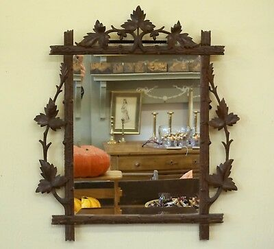 Antique Swiss Black Forest Wood Carving Frame Beveled Mirror Grape Leaves c1890