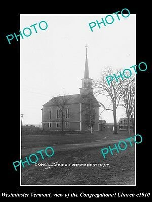 OLD LARGE HISTORIC PHOTO OF WESTMINSTER VERMONT, THE CONGREGATIONAL CHURCH c1910