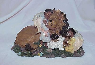 Majestic Cecil at Peace With Angels And a Lamb Lion Resin Figurine Statue