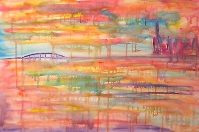 HARBOUR DAWN LARGE ORIGINAL OIL PAINTING Wall Art Canvas Abstract Picture Modern