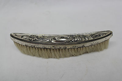 Sterling Silver Art Nouveau Curved Clothes Brush with Flower Design Engraved