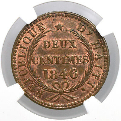 Haiti 2 Centimes 1846 PROOF NGC MS63 RB Rare