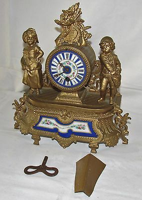 French 8 Day Gilt Metal Mantle Clock With Painted Panels