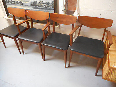 Danish Modern Mid Century Dining Chair Set of 4 American Scoop Back Walnut Tone