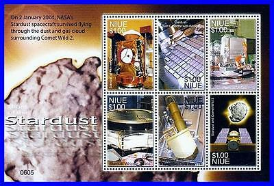 Niue = Kennedy Space Center  M/s Sc#813 Mnh Cv$8.50 Astronomy, Comet Wild 2