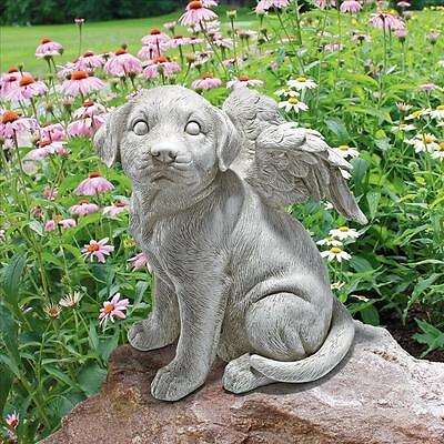 Puppy Dog Canine Winged Pet Angel in Heaven Love Lost Companion Memorial Statue