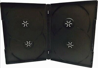 10 New Premium Black Quad Multi hold 4 Discs DVD CD Cases, Standard 14mm, QP
