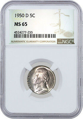 1950 D 5C Jefferson Nickel NGC MS65
