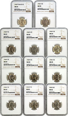 Complete Set Of 11 1942-1945 5C Jefferson Silver War Nickel NGC MS65