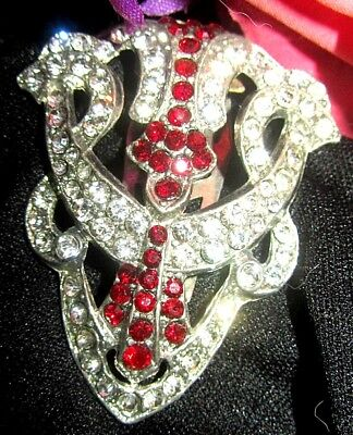ANTIQUE Victorian Edwardian FUR CLIP dress brooch RUBY PASTE patent number 1 3/4