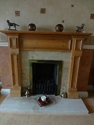 Fireplace - Marble hearth and back panel with antique pine surround