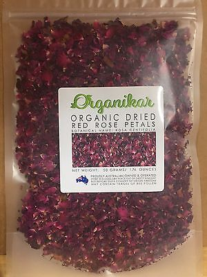 Dried RED Rose Petals ORGANIC - 50 grams - Rosa Centifolia - Free Fast Post