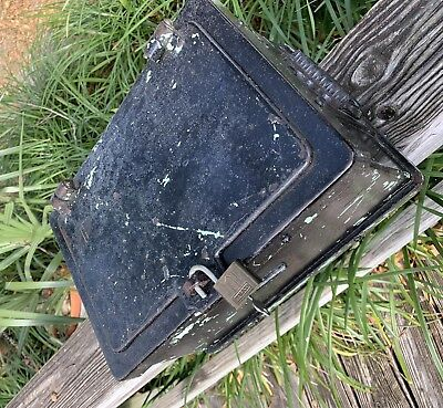 "Rare, Heavy Antique 1800's 13"" X 9"" X 7"" Iron Stagecoach Strongbox, all Original"