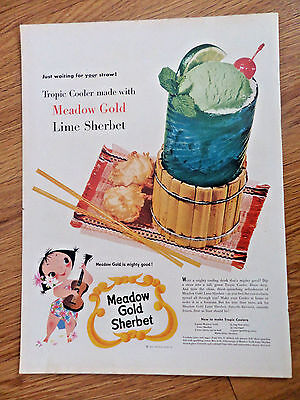 1954 Meadow Gold Sherbet Ice Cream Ad  Tropic Cooler Lime Sherbet