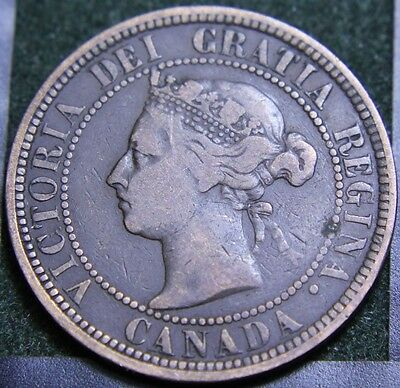 #554# 1887 Canadian Coins Large Cent Queen Victoria