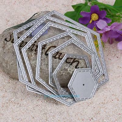 7PCS Hexagon spiral Die Cuts Metal Cutting Dies In Scrapbooking Embossing Craft