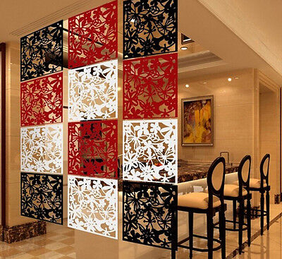 Wall Sticker Hanging Screen Curtain 4pcs Butterfly Flower Room Divider Partition