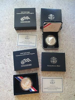 2008 US Mint Bald Eagle Proof & Uncirculated Silver Dollar Sets - 2 Coins!