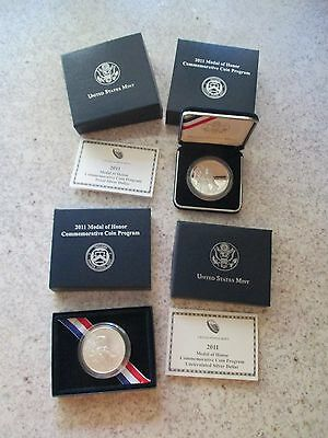 2011 US Mint Medal of Honor Proof & Uncirculated Silver Dollar Sets - 2 Coins!