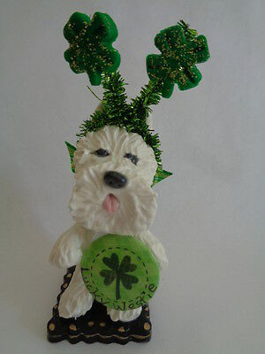"""Hand Sculpted~Westie West Highland Terrier~""""celebrating St. Patrick's Day"""""""