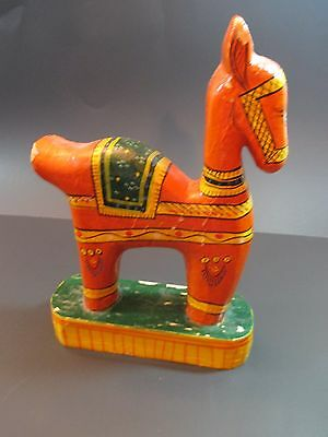 """Vintage Hand Carved Hand Painted Horse 10"""" Need TLC Made In India"""
