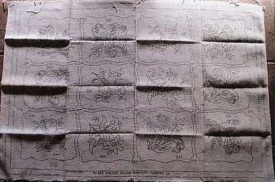 Vintage American Thread Co #652 Stamped Rug Canvas Punched Rug 24 x 36in 1950s