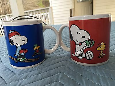 Peanuts Snoopy And Woodstock Red & Blue  Coffee Mug United Feature Syndicate