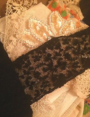 Antique French Black Lace Silk Cotton Yardage Dolls Doll Costume Per 1 Yard 2.5""