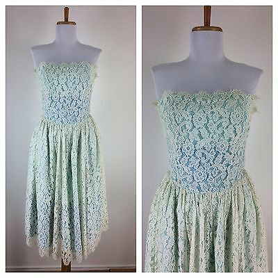 Vintage 1950s Blue Ivory Lace Prom Party Cocktail Dress S