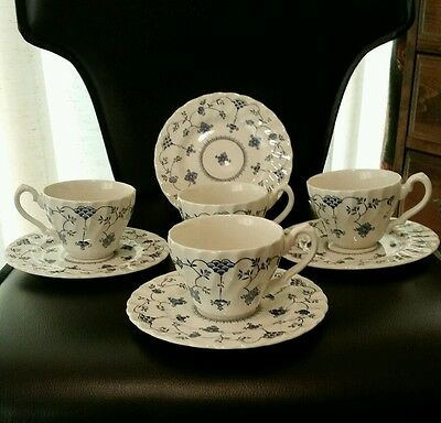 Vintage Salem China Staffordshire Yortown teacups-saucers(4) Made In England