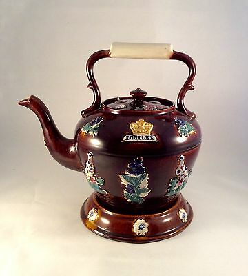 Antique Victorian English Barge Ware Teapot & Stand  Applied Jubilee Crown