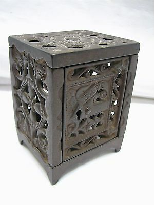 Antique Cast Iron Toy Safe Still Dime Bank Ornate Victorian Toy 1896 Patent