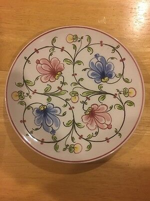 """VTG 6 1/4"""" Portugal Hand Painted White/Blue /pink Decorative Pierced Plate"""