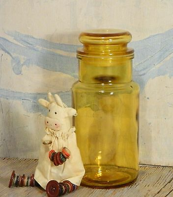 Apothecary Jar/Yellow Amber Glass/Seal/Flat Lid/Storage Container/Canister