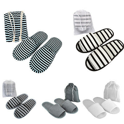 5/10 Pairs Gray Towelling Open Toe Hotel Portable Slippers Spa Disposable Shoes