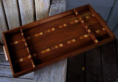 "20"" Vintage Mid Century Modern Abstract Inlay Wood Tray Wall Art"