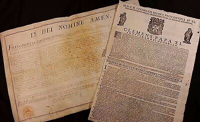 1713 - Papal Bull with the granting of Indulgences and 1757 - Diploma in Law
