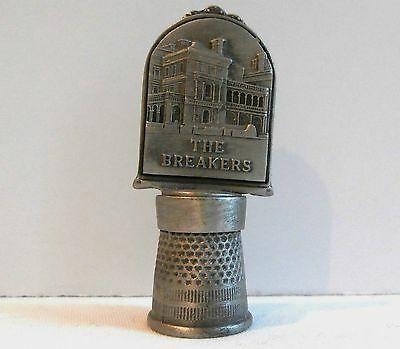 """PEWTER THIMBLE Embossed Large Top """"THE BREAKERS"""" Mansion Newport, RI Made in USA"""