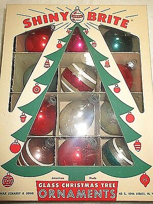 Vintage Box With  12  Shiny Brite Christmas Ornaments= All Are In Good Condi