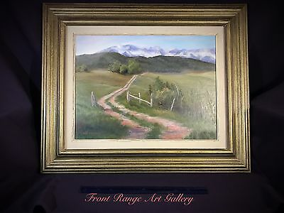 Original Oil On Board By Liz Mustee Framed And Signed Landscape Colorado