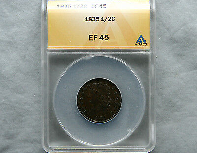 1835 Classic Head HALF CENT 1/2c EF45 ANACS Certified Very Beautiful Coin
