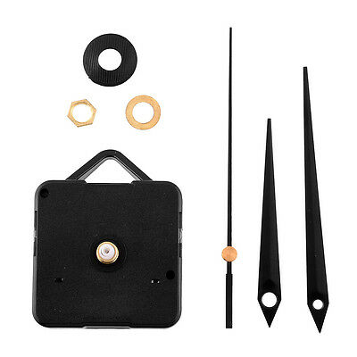 Quiet Silent Quartz Clock Movement Three Black Hands Mechanism Set Kit
