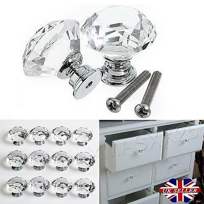 16/32 pcs Clear Crystal Glass Door Knob Cupboard Drawer Cabinet Kitchen Handles