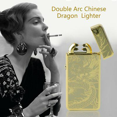 Dragon Electric Dual Arc Flameless USB Rechargeable Windproof Lighter F5