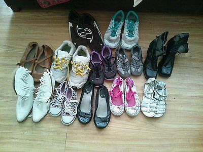 Trashed/worn women's and girls shoes lot