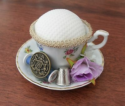 Handmade vintage style mini tea cup pin cushion keep sewing craft gift quilter 1